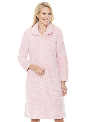 Zip Supersoft Textured Fleece Housecoat