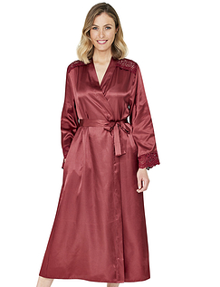 Woven Satin Dressing Gown with Lace Trim