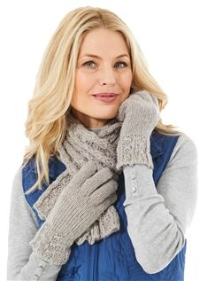 Knitted Glove And Scarf Set
