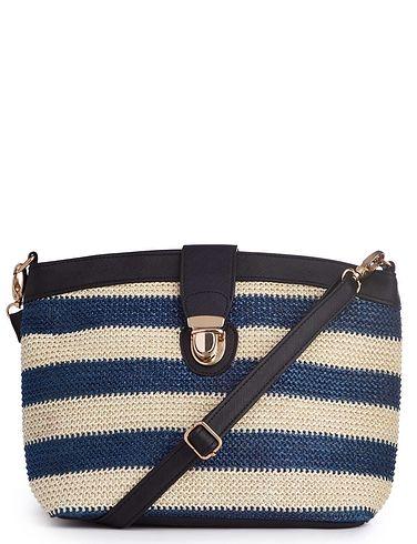 Stripe Raffia Bag