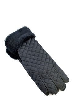 Padded Gloves With Fur Trim