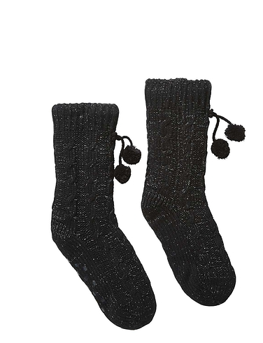 Cable Design Lounge Sock With Pom Pom Detail