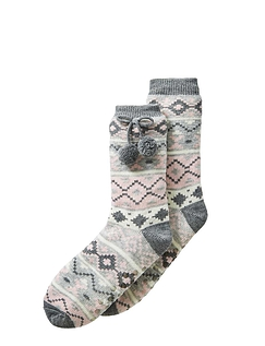 Jacquard Design Loungesock With Grippers and Pom Pom Detail