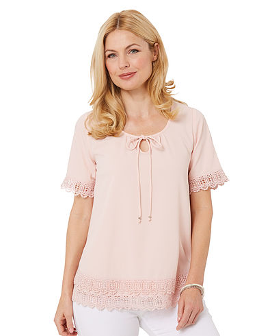 Short Sleeve Lace Hem Blouse