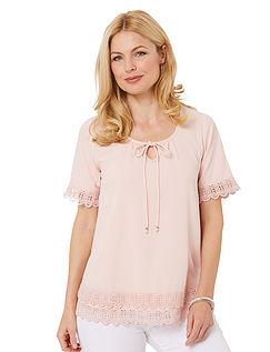Short Sleeve Lace Hem Blouse