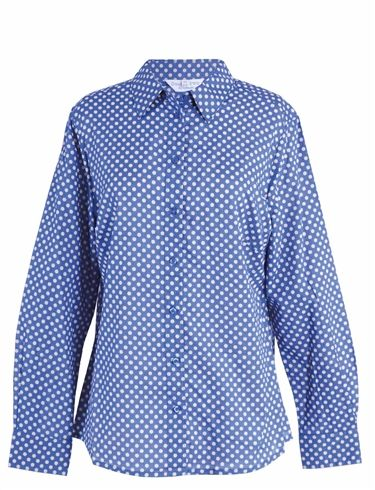 Double Two Long Sleeve Blue And White Polka Dot Blouse
