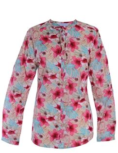 Double Two Red Flower Print Blouse