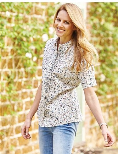 Double Two Short Sleeve Floral Blouse