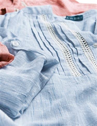Stripe Lace Detail Blouse