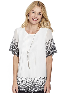 Embroidered Chiffon Blouse