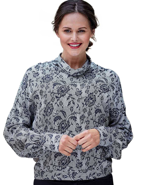 Double Two  Lace Print Cowl Neck Blouse - Black