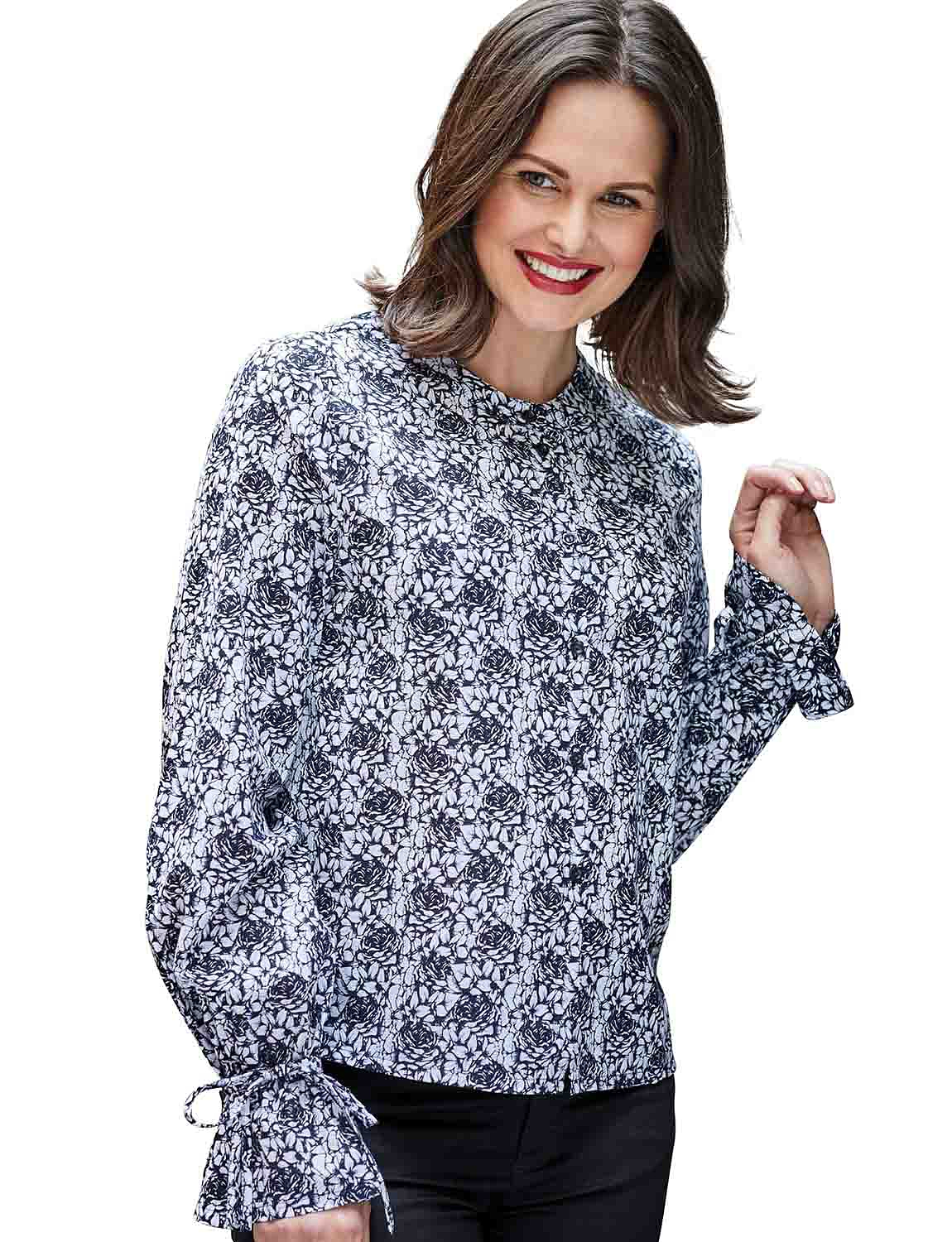 Double Two  Sketch Rose Print Blouse - Charcoal