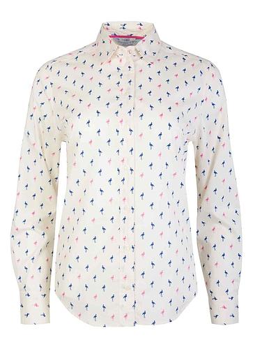 Doubel Two Flamingo Print Shirt - Cream