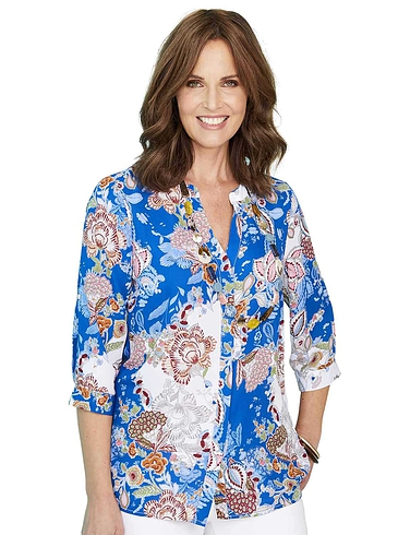 Print Roll Up Sleeve Blouse