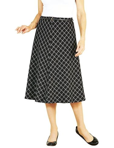Black Check Skirt With Belt