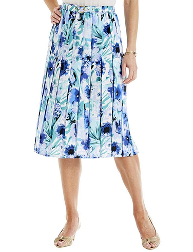 Print Pleat Belted Skirt