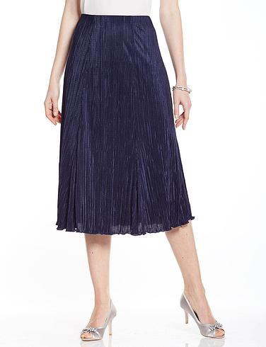 Plisse Skirt - Length 25 Inch - Navy