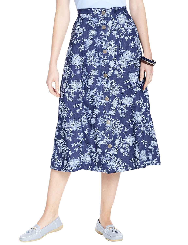 Ladies Floral Print Button Through Skirt - Floral