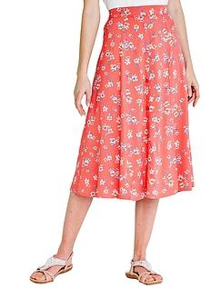 Viscose Print Split Detail Skirt