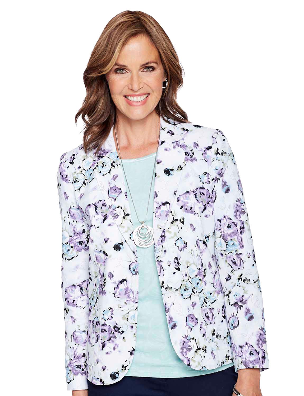 Tailored Print Linen Jacket - Mauve