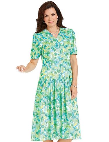 V Necked Drop Waist Dress