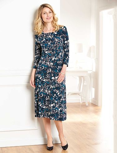 Flared Jersey Dress With Insert 40 Inches