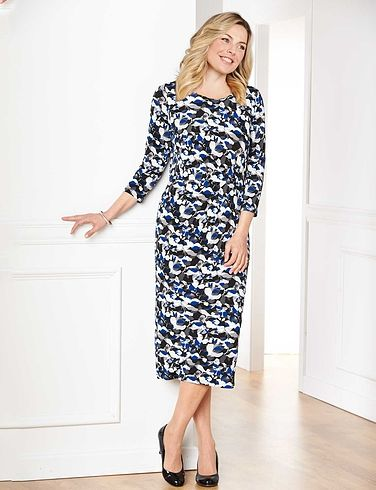 Print Gathered Dress 40 Inches