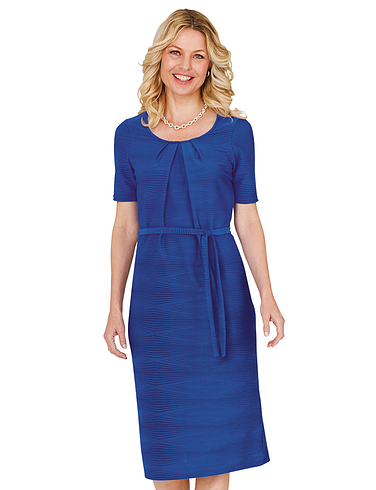 Textured Belted Dress 43 Inches