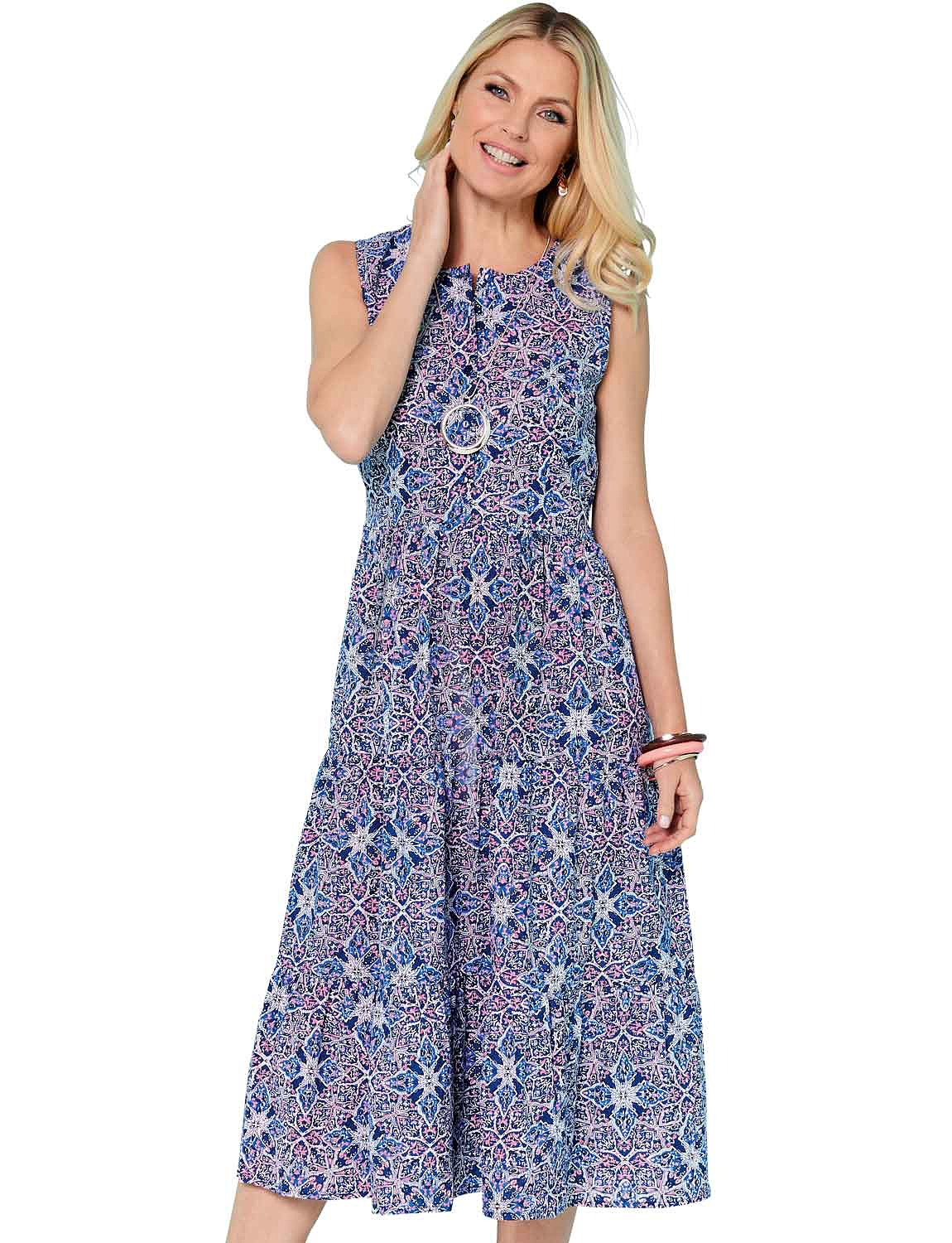 Geo Print Holiday Dress - Blue