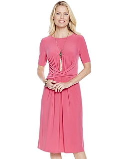 Wrapover Front Dress in Magenta - MAGENTA