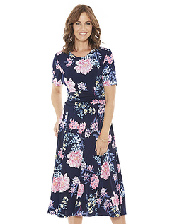 Ruched 46 Inch Length Panel Waist Dress