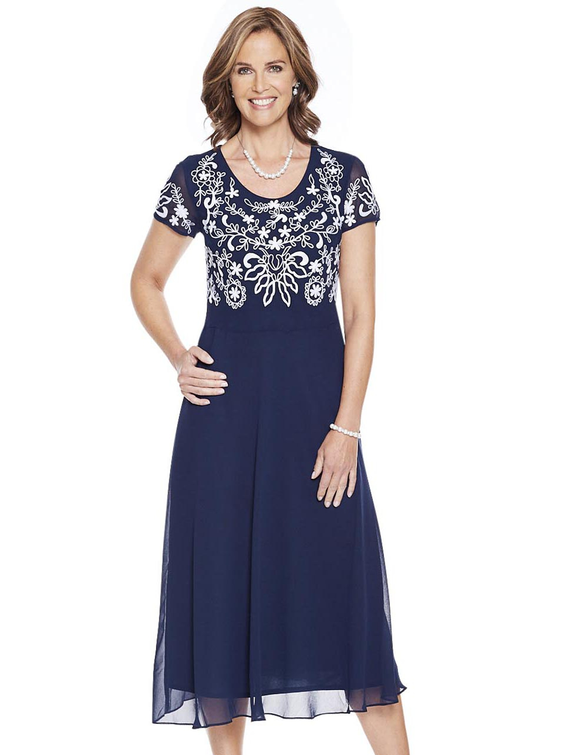 Embroidered Bodice Dress - Navy