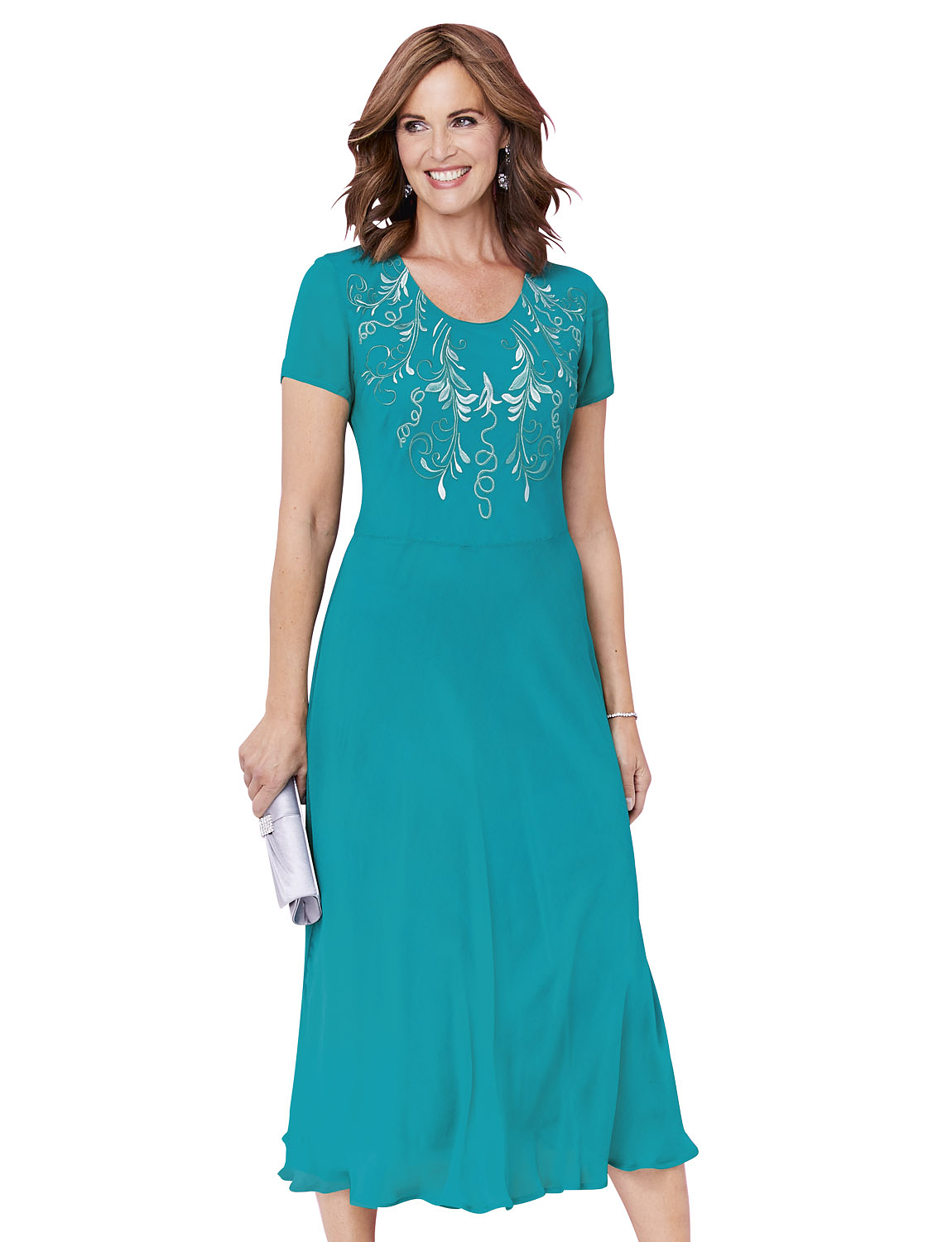 Embroidered Occasion Dress - Jade