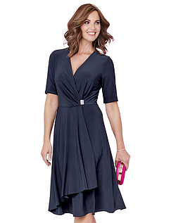 Mock Wrap Diamante Trim Jersey Dress