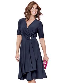 Mock Wrap Diamante Trim Jersey Dress