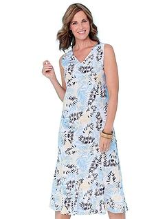 Linen Mix Print Dress