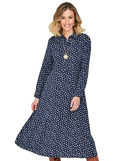 Viscose Button Through Long Sleeve  Dress