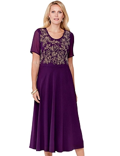 Short Sleeve Embroidered Occasion Dress