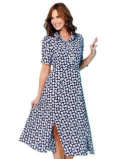 Viscose Button Front Fit And Flare Shirt Dress