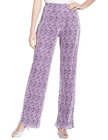 Floral Print Plisse Trouser