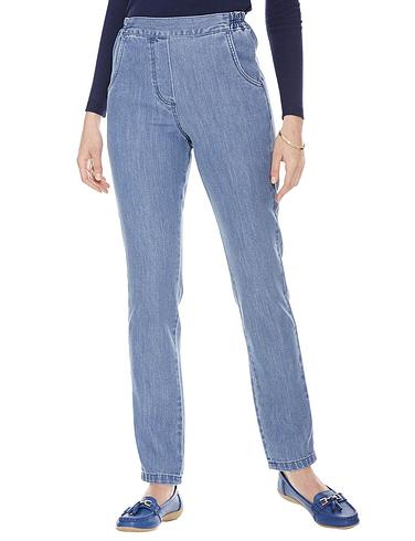 Flat Front Side Elastic Jean - Denim