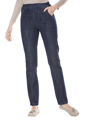 Flat Front Side Elastic Jean - INDIGO