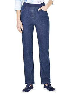 Pull On Stretch Jean With Rib Waistband