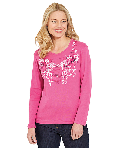 Placement Print Jersey Top