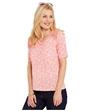 Lace Shoulder V Neck Print Top