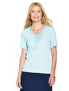 Lace Panel Applique T Shirt