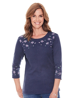Embroidered Three Quarter Sleeve Top