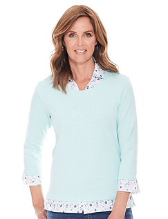 Mock Shirt Jersey Top