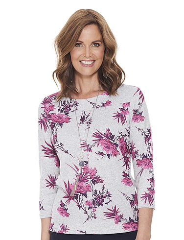 Warm Handle Floral Print Top