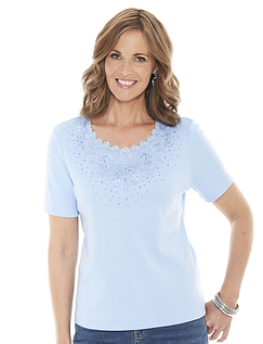 Lace Neck T-Shirt